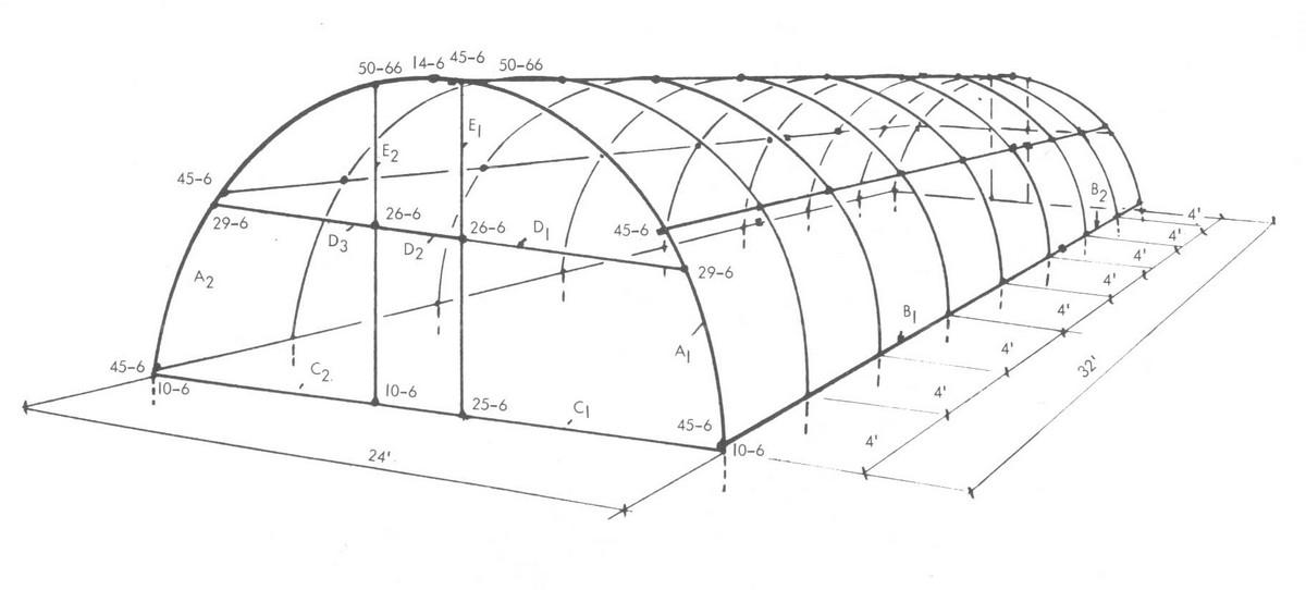Схема теплицы из палстиковых труб